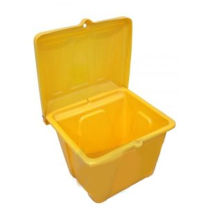 Pojemnik na piasek i sól SB 200l w kolorze żółtym otwarty