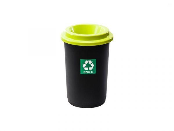 Kosz do segregacji odpadów Eco Bin 50l z zieloną pokrywą na szkło
