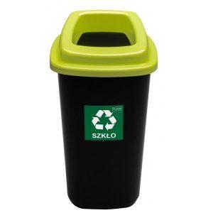 Kosz do segregacji odpadów Sort Bin 28l z zieloną pokrywą na szkło