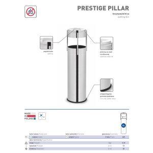 Okrągła koszopopielnica Prestige Pilar 15l ze stali nierdzewnej w wykończeniu satynowym