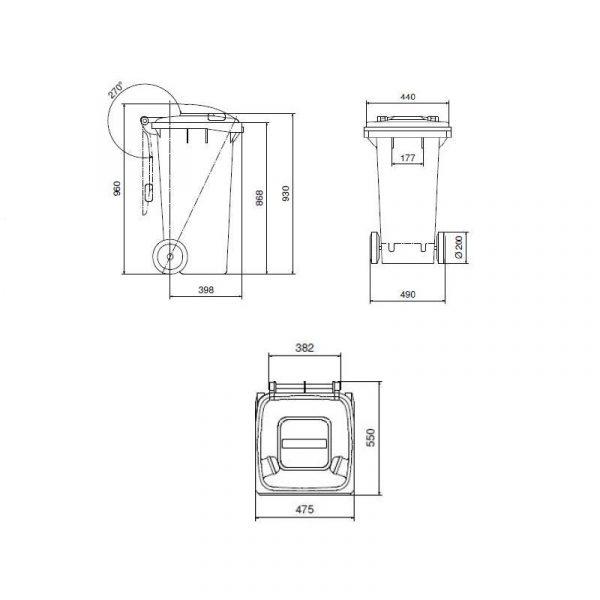 Pojemnik na odpady Weber 120l rysunek techniczny