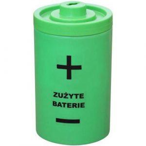Plastikowy pojemnik w kształcie baterii na zużyte baterie Bateria 40l zielony