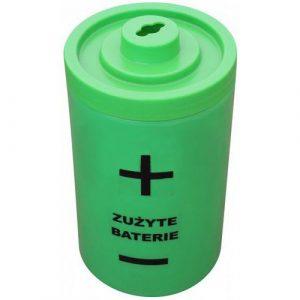 Plastikowy pojemnik na zużyte baterie Bateria 40l zielony