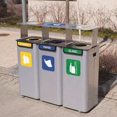 Stacja 3-modułowa do zewnętrznej segregacji odpadów Modular z daszkiem
