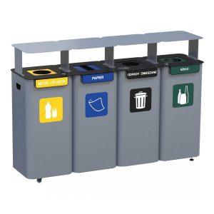 Stacja 4-modułowa do segregacji odpadów Modular z daszkiem
