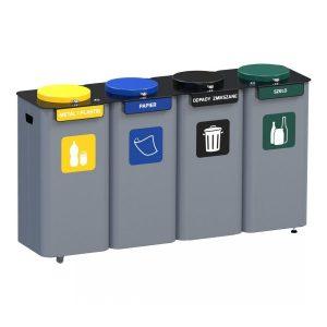 Stacja 4-modułowa do segregacji odpadów Modular z pokrywami