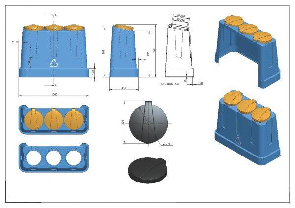 Trzykomorowy pojemnik do segregacji Trojak Mini rysunek techniczny
