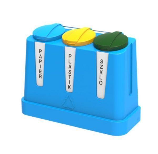 Trzykomorowy pojemnik do segregacji odpadów Trojak Mini niebieski