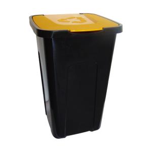 Kosz do segregacji Sorta 50l z żółtą pokrywą na metal i plastik