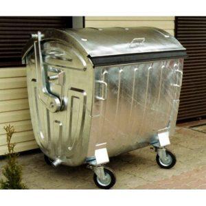 Metalowy pojemnik na odpady z pokrywą półokrągłą 1100l