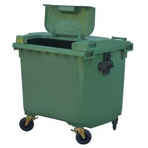Pojemnik na odpady Weber 1100l pokrywa w pokrywie zielony z otwartą pokrywą
