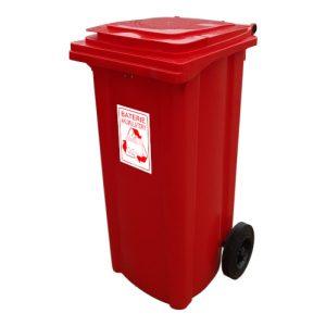 Pojemnik na odpady niebezpieczne - na baterie / akumulatory z czerwony 240l
