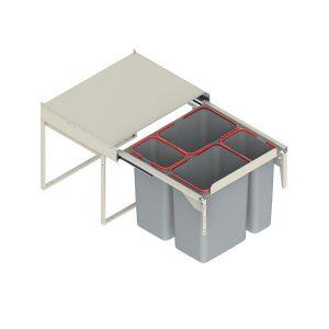 Wysuwany kosz szafkowy poczwórny 2 x 9l + 2 x 20l (front 60cm) z mocowaniem do frontu