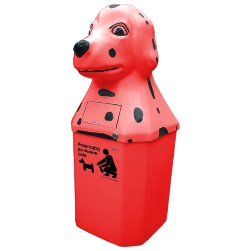 Kosz na psie odchody Dalmatyńczyk 50l czerwony
