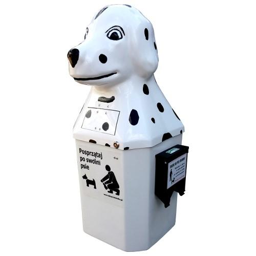 Kosz na psie odchody Dalmatyńczyk 50l z podajnikiem