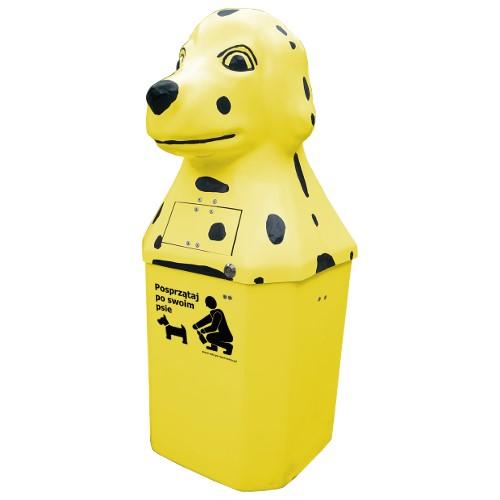 Kosz na psie odchody Dalmatyńczyk 50l żółty