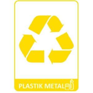 Naklejka na kosz do segregacji plastik metal