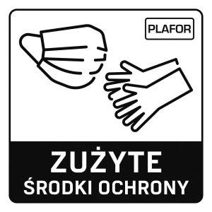 Naklejka zużyte maseczki i rękawiczki