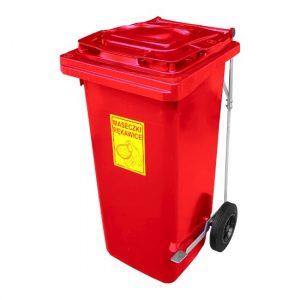 Pojemnik z pedałem na zużyte środki ochrony osobistej 120l czerwony