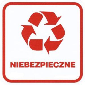 """Naklejka """"odpady niebezpieczne"""" na pojemnik"""