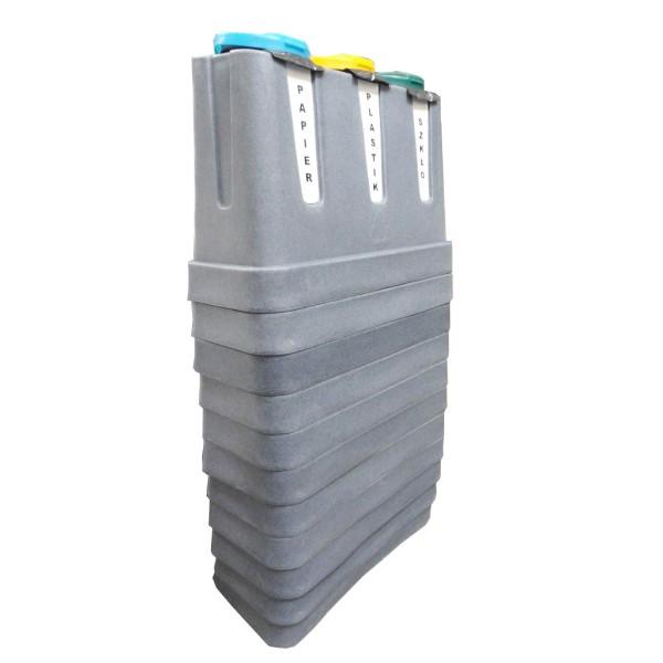 Trzykomorowy pojemniki do segregacji Trojak Mini szare w stosie