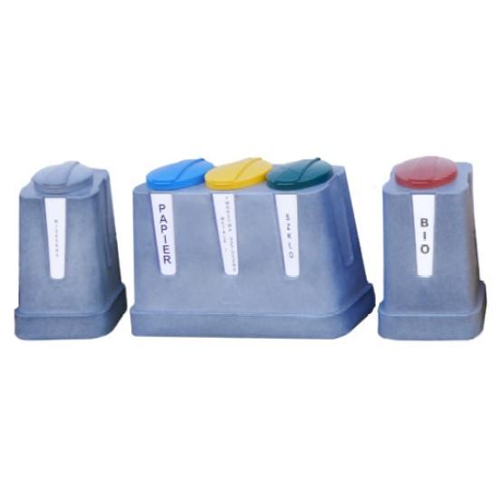 Zestaw do segregacji śmieci złożony z pojemników Trojak mini i Jedynak mini