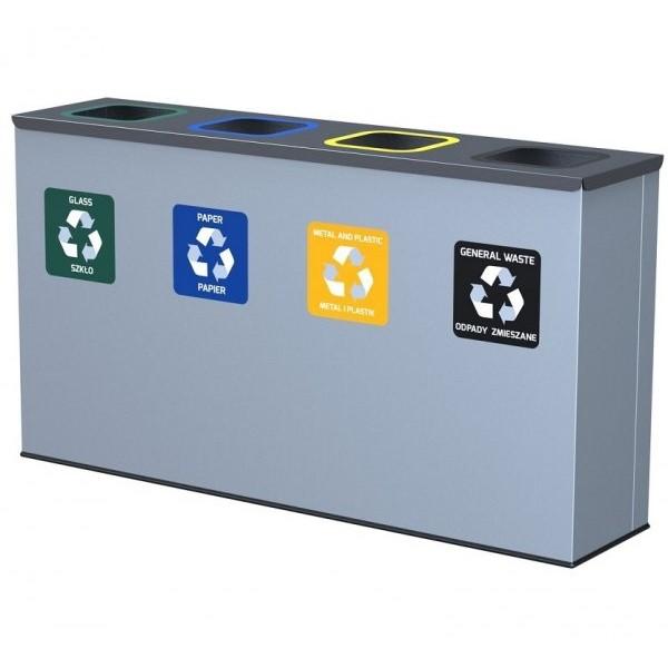 4-komorowa Stacja do segregacji odpadów Eko Station: szkło, papier, metal i plastik, odpady zmieszane