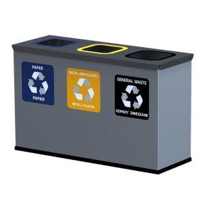 3-komorowa stacja do segregacji śmieci Mini 3 x 12l