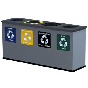 4-komorowa stacja do segregacji śmieci Mini 4 x 12l