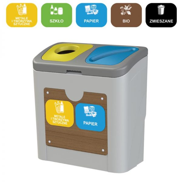 Stacja do segregacji odpadów Tudeks 2 x 50l różne frakcje