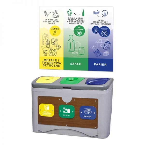 Stacja do segregacji odpadów Tudeks 3 x 50l z tablicą edukacyjną