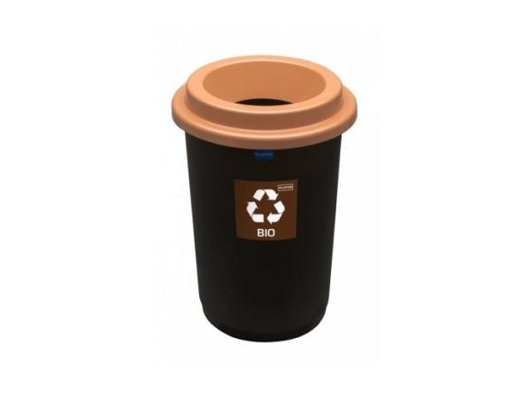 Kosz do segregacji odpadów Eco Bin 50l z brązową pokrywą na bio