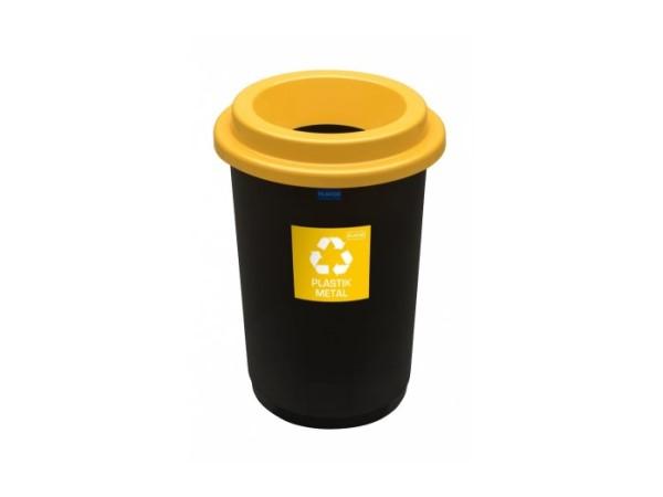 Kosz do segregacji odpadów Eco Bin 50l z żółtą pokrywą na plastik i metal