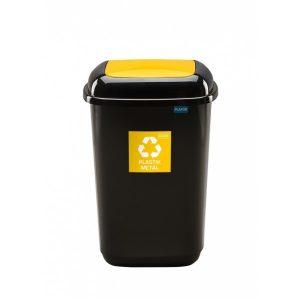 Kosz do segregacji odpadów Quatro 45l z żółtą pokrywą na plastik i metal