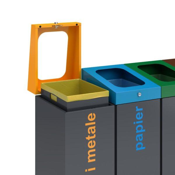 Stacja do segregacji odpadów Satis z otwartą pokrywą